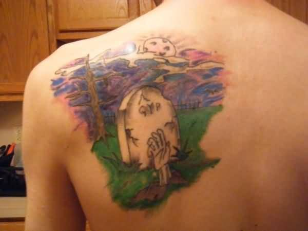 Upper Side Back Wonderful Graveyard Tattoo Design Image