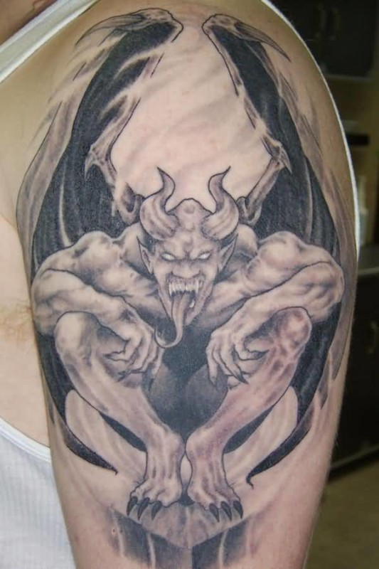 Upper Sleeve Big Horn Gargoyle Tattoo For Cool Men