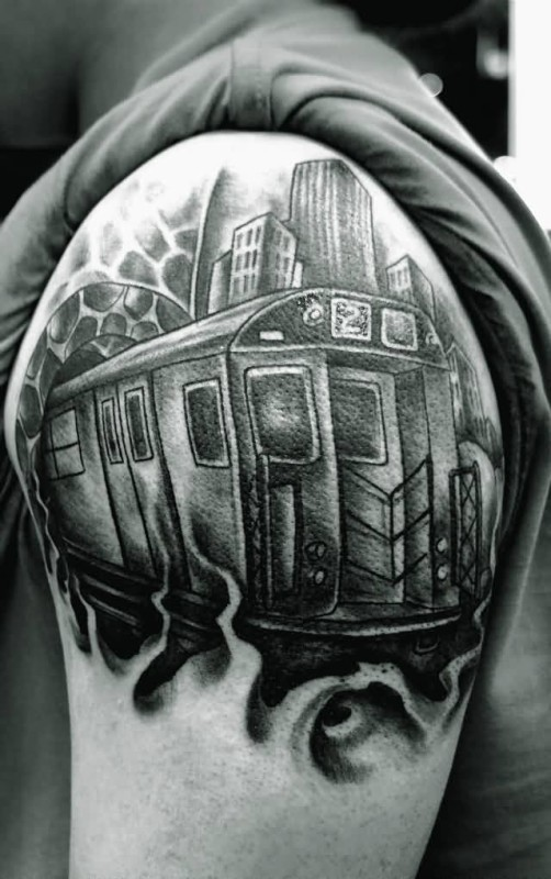Upper Sleeve Black And White Graffiti Tattoo