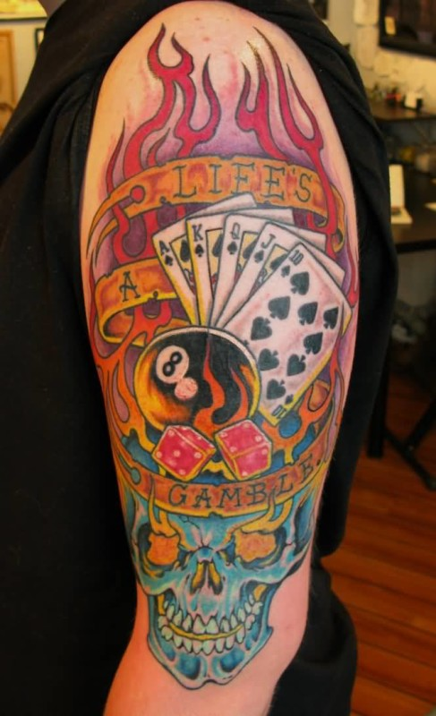 Upper Sleeve Cover Up With Outstanding Cards And Pool Ball  Gambling Tattoo