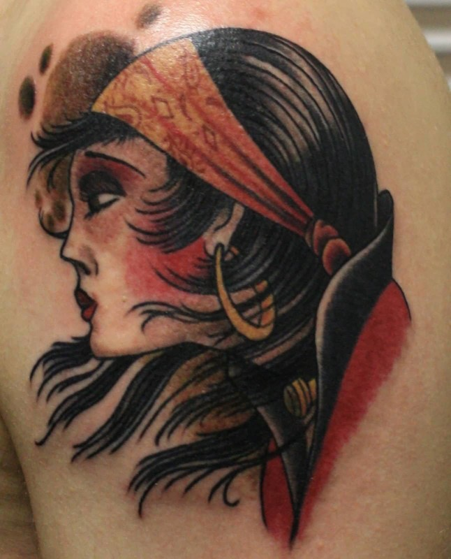 Upper Sleeve Cover Up With Outstanding Classy Gypsy Face Tattoo
