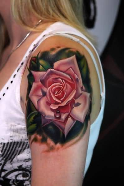 Upper Sleeve Decorated With Brilliant Funky Rose Tattoo For Hot Young Girl
