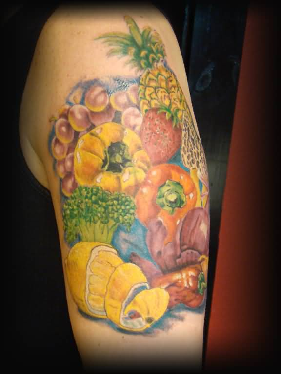 Upper Sleeve Decorated With Wonderful Fruits Tattoo