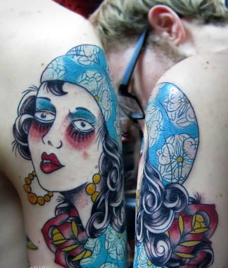 Upper Sleeve Outstanding Classy Gypsy Tattoo Image Made By Cool Artist