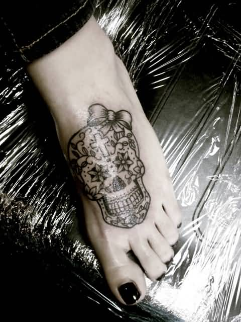 Women Show Wonderful Classy Sugar Skull Tattoo  Make On Foot