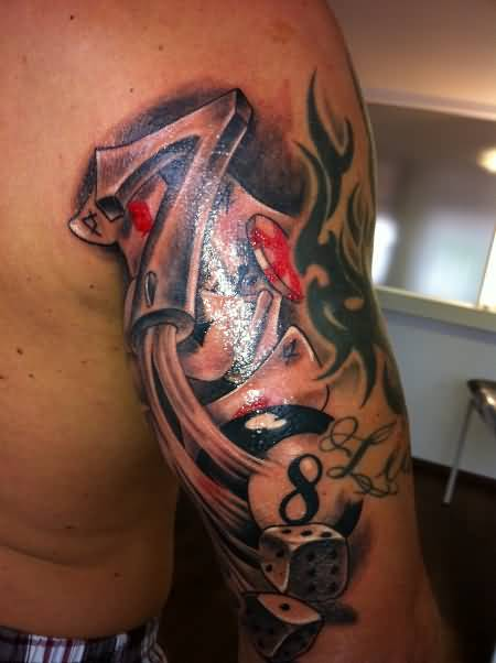 Wonderful Classy Back Upper Sleeve Shining Gambling Tattoo