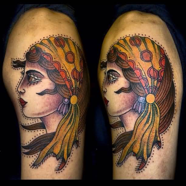 Wonderful Classy Cool Gypsy Tattoo Design Image Make On Upper Sleeve