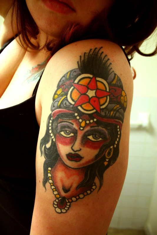Young Hot Girl Gypsy Girl Face Tattoo Design Image Make On Upper Sleeve
