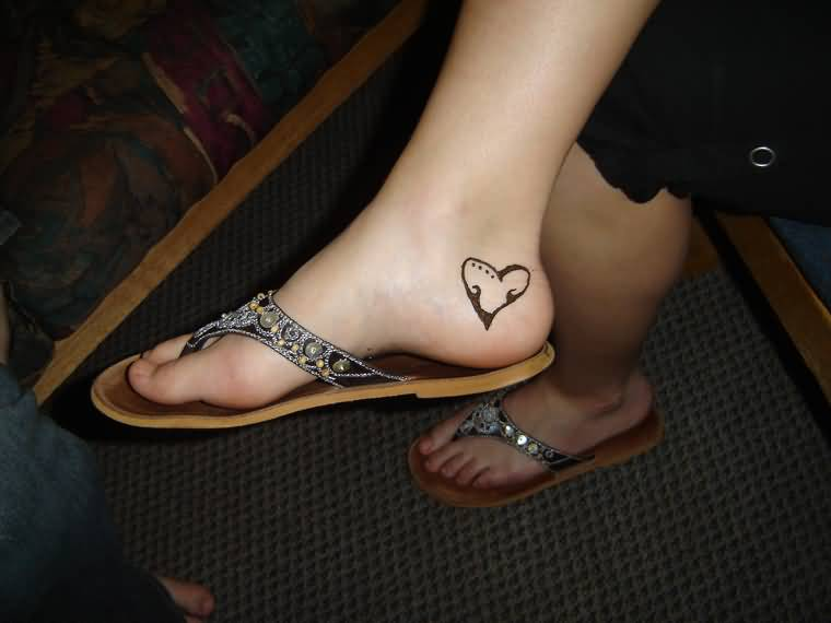 Amazing Simple Ankle Heel Heart Tattoo Design For Cool Women