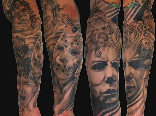 Angry Horror Mask Tattoo Design Image Make On Men's Lower Sleeve