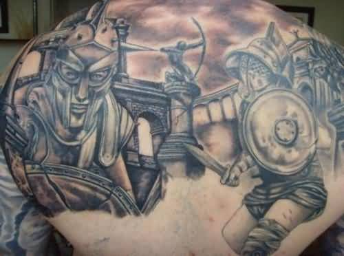Angry Warrior Wearing Helmet Tattoo On Upper Back