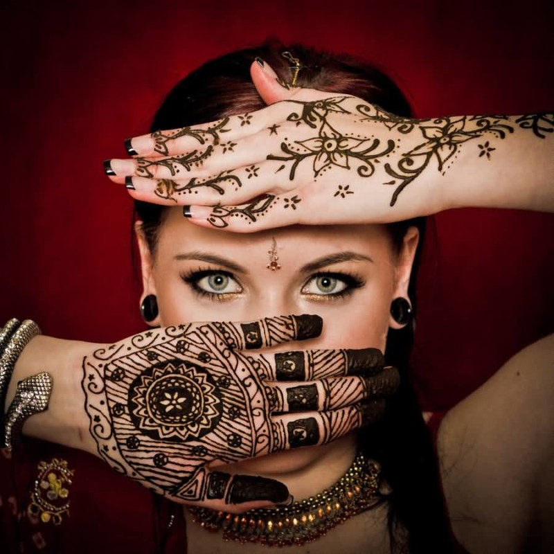 Attractive Eye Women Show Perfect Henna Tattoo Design Image Make On Hand