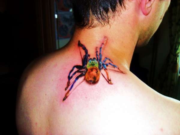 Awesome Crawling Colorful Ink Spider Tattoo Design Image Make On Neck Back For Cool Men