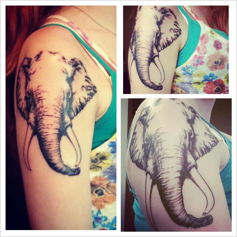 Awesome Elephant Head Tattoo Design Image Make On Women's Upper Sleeve