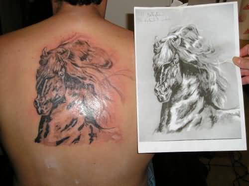 Awesome Shining Horse Head Tattoo Design Image Make On Upper Back