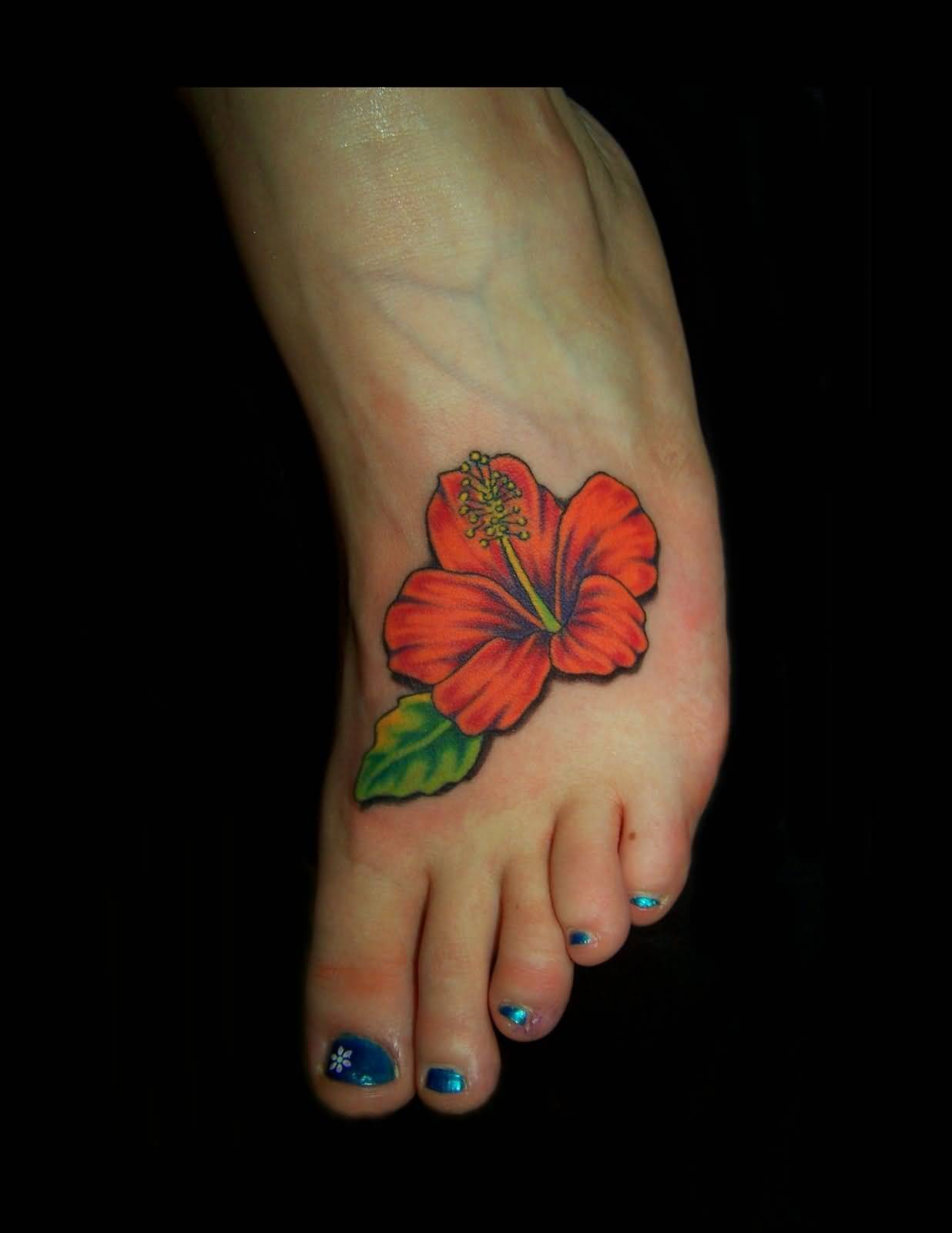 Hibiscus flower tattoo ideas and hibiscus flower tattoo designs page 3 awesome simple orange hibiscus flower tattoo make on foot izmirmasajfo