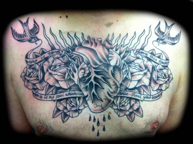 Heart men tattoo ideas and heart men tattoo designs page 2 for Sweet chest tattoos