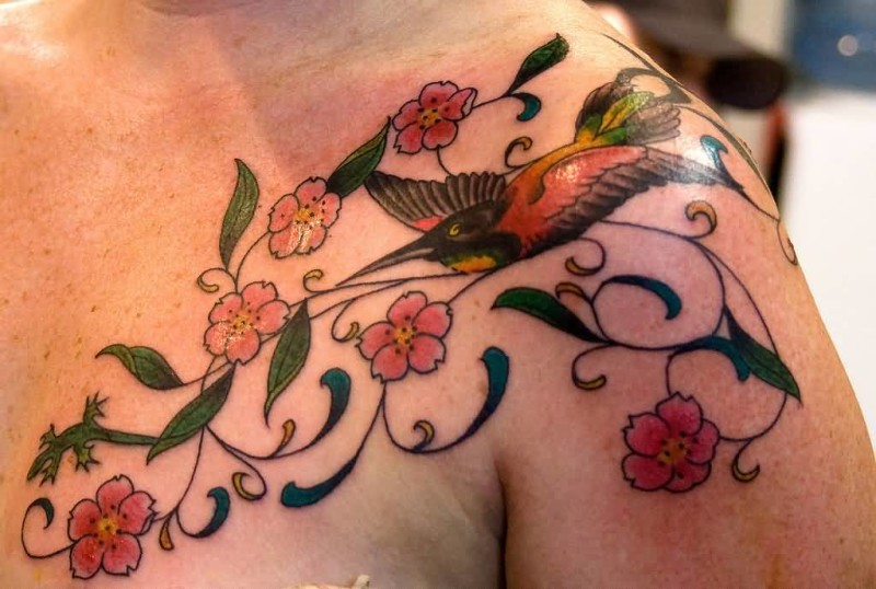 Beautiful Hummingbird Tattoo Design Images Make On Collarbone And Sleeve