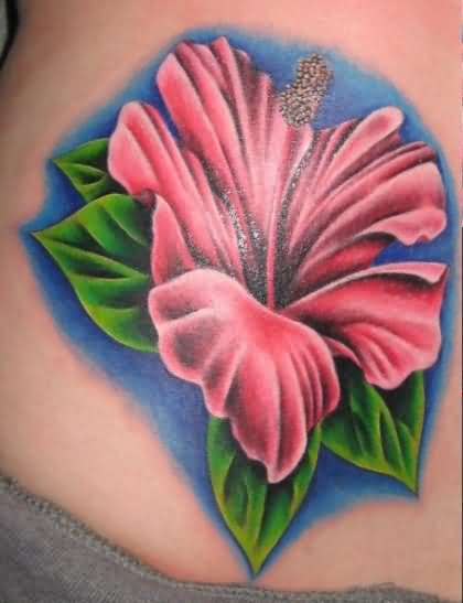 Pink Hibiscus Flower Tattoo