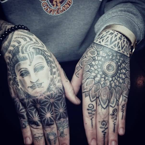 Both Hand Cover Up With Simple Old Buddha Face And Lovely Flower Tattoo Design Image Make On Hand