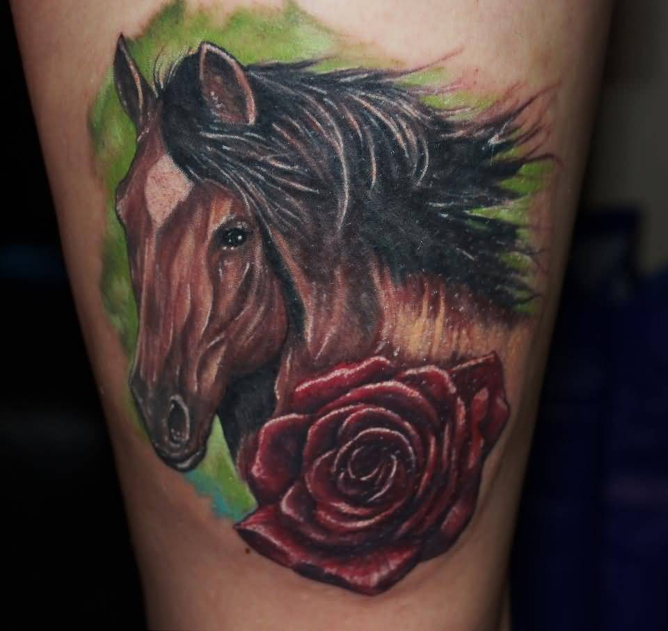 Brilliant Horse Head With Realistic Horse Head Tattoo