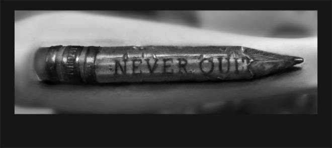 Brilliant Never Quit Text Pencil Tattoo