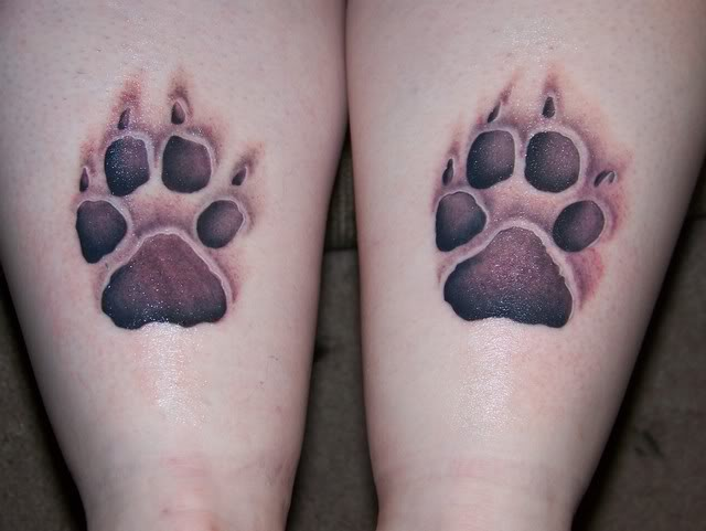 Brilliant Sweet Shining Paw Tattoo Design Image Make On Back Leg