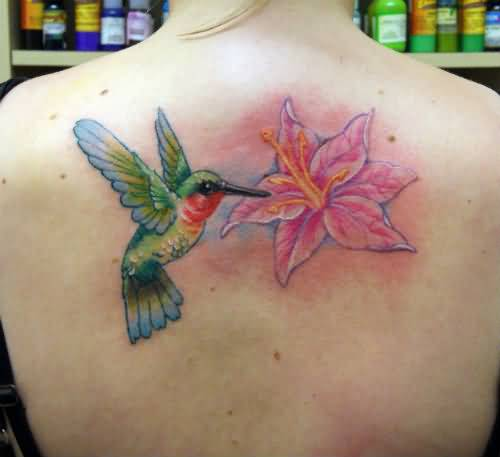 Brilliant Upper Back Cover Up With Outstanding Small Hummingbird Tattoo