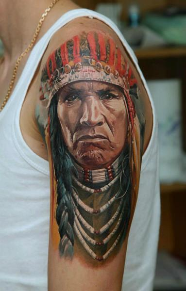 Brilliant Upper Sleeve Awesome Native Indian Face Tattoo Design Image