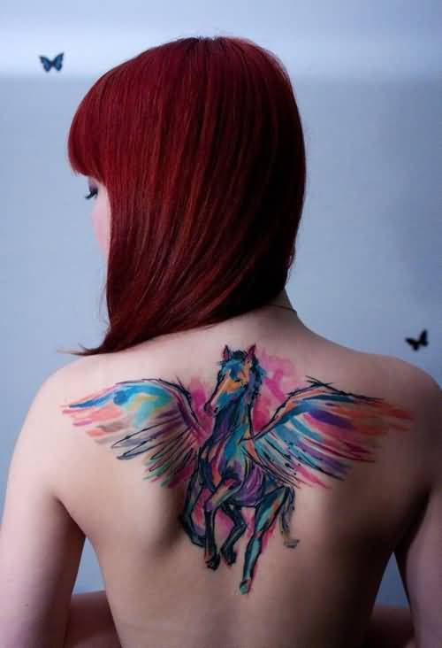 Brilliant Watercolor Horse Tattoo Design Image Make On Upper Back