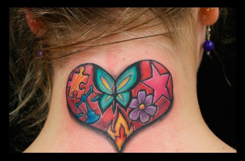 Colorful Flowers And Stars Heart Tattoo On Neck Back Design For Cool Women