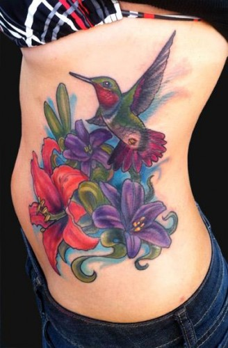 Colorful Ink Nice One Amazing Flying Simple Hummingbird Tattoo