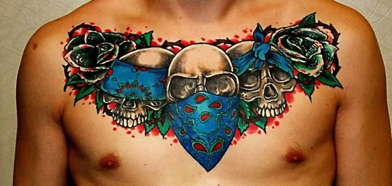 Cool Men Chest Cover Up With Gangsta Skull Tattoo