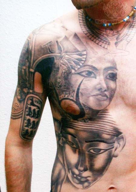 Cool Men People Show Simple Grey Ink Faces Tattoo Image
