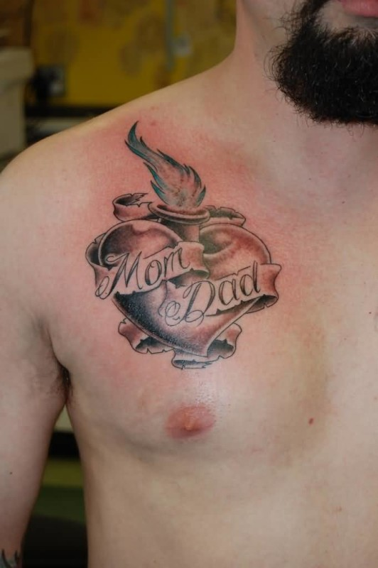 Cool Simple Mom Dad Banner With Nice Flaming Heart Tattoo On Men S Chest