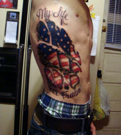 Coolest Rib Side Cover Up With Simple My Life Patriotic American Tattoo