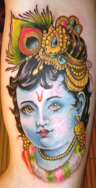 Cute Nice Hinduism Krishana Face Tattoo Design