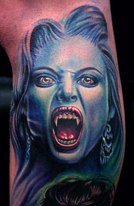 Dangerous Teeth Scary Vampire Tattoo Made By Ink