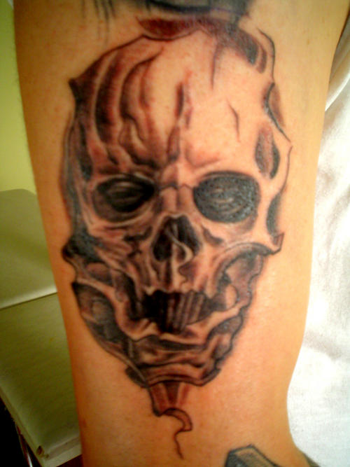 Dangerous Upper Sleeve Scary Angry Monster Face Tattoo