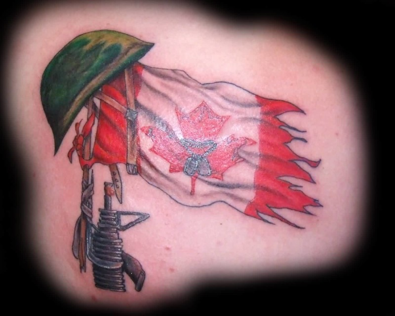 Famous Army Guns And Helmet Design With Famous Canadian Flag Tattoo
