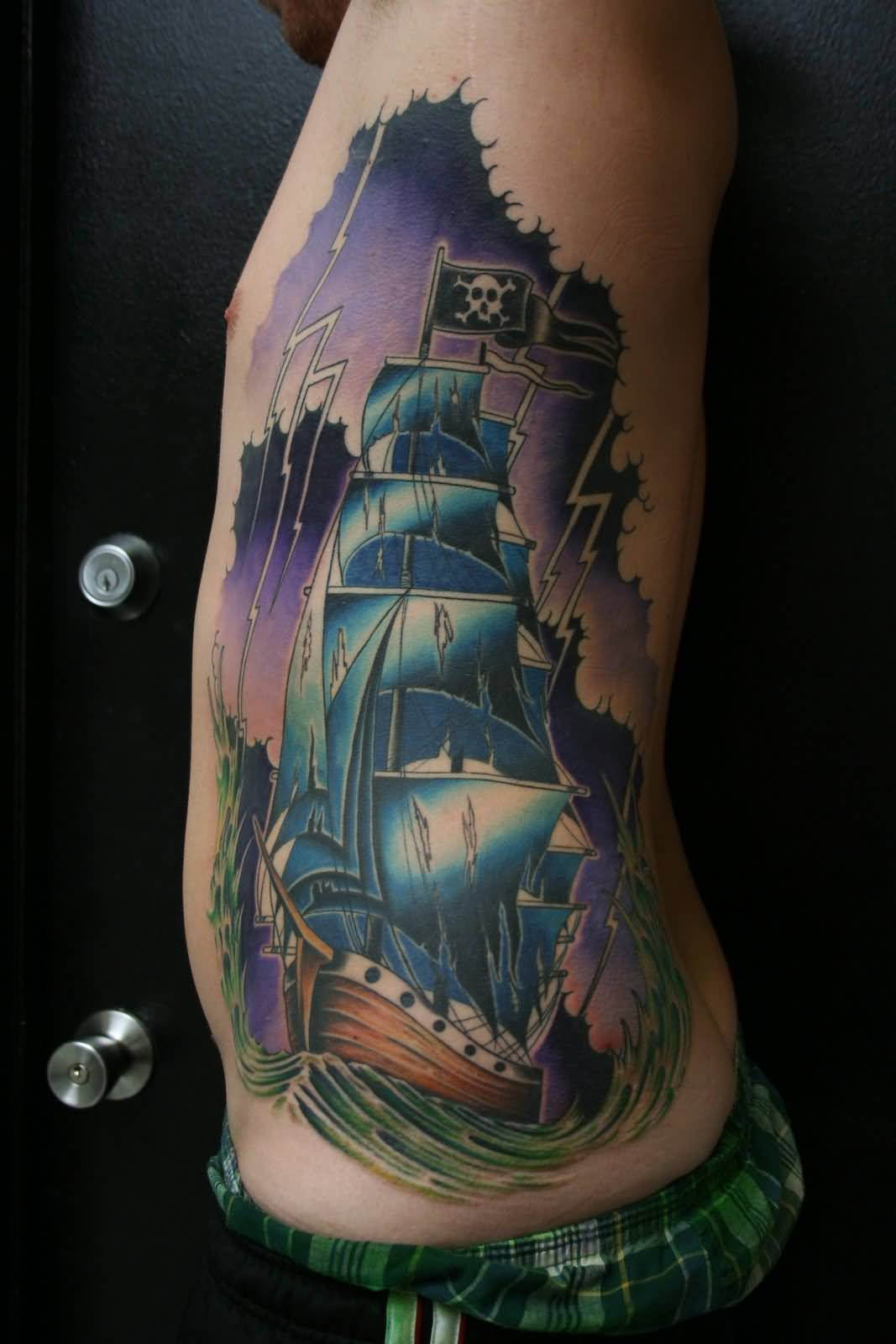 Famous Men Show Popular Pirate Ship Tattoo On Rib Side