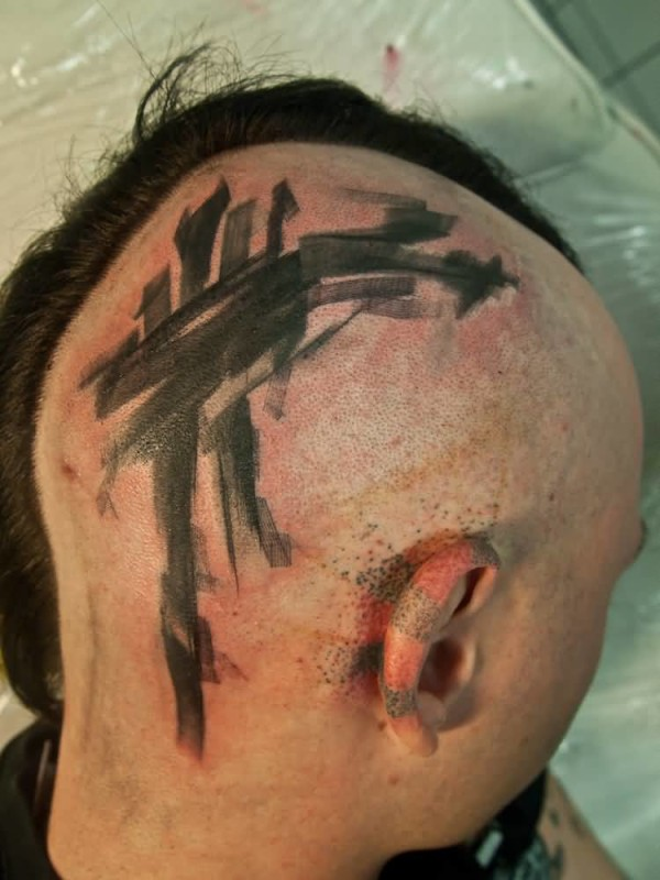 Fantastic Abstract Tattoo Design Image Make On Side Head For Handsome Cool Men
