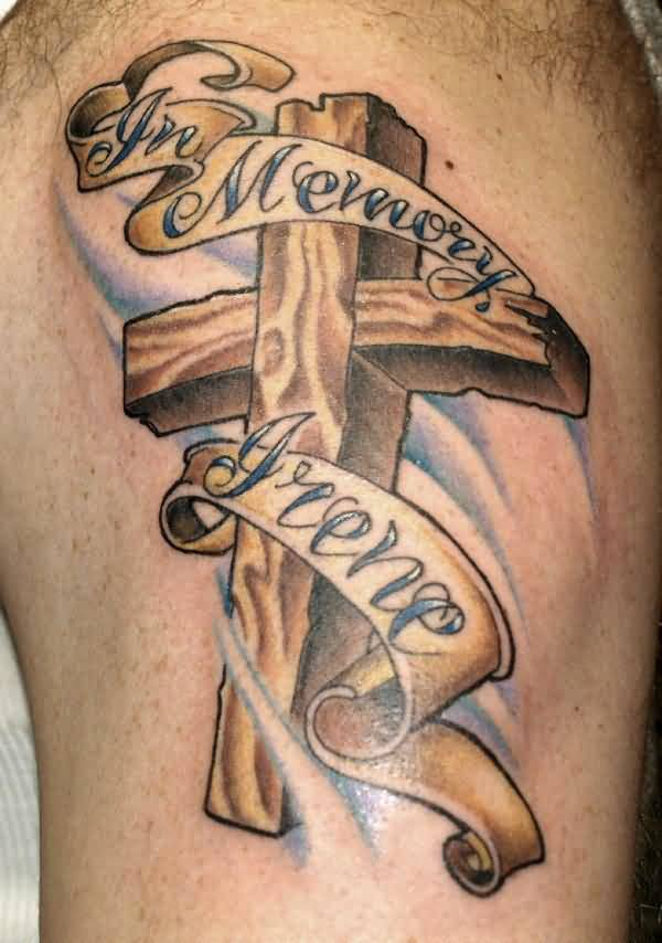 Fantastic In Memory Banner With Memorial Cross Tattoo On Upper Sleeve