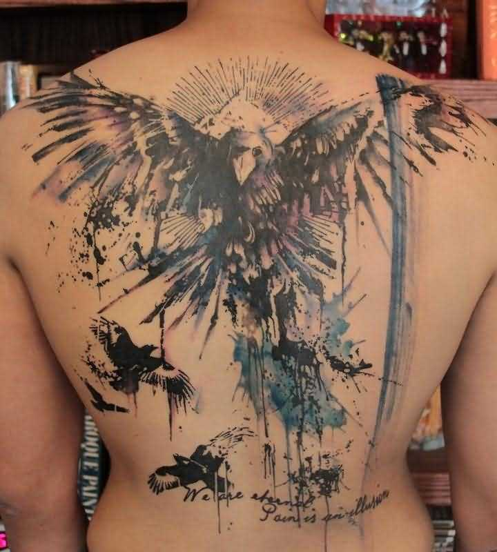 Full Back Decorated With Watercolor Owl Tattoo Design