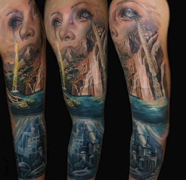 Full Sleeve Decorated With Ultimate Girl Eyes Ocean Tattoo Made By Perfect Artist