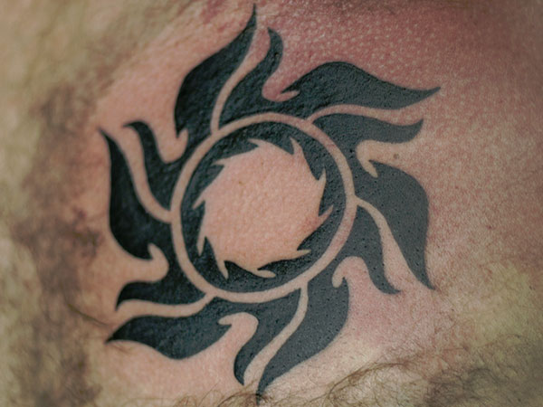 Great Looking Sun Tattoo Design Made By Perfect Artist