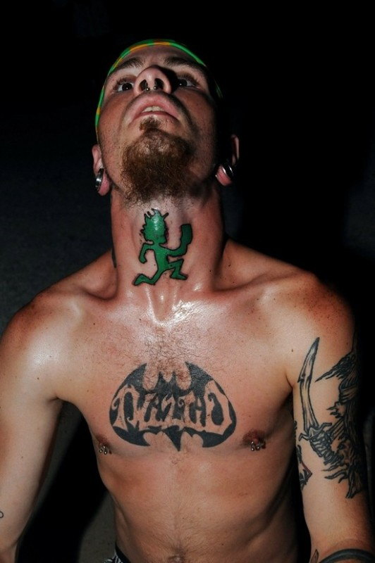 Green Ink Nice Hatchetman Tattoo Design For Cool Men