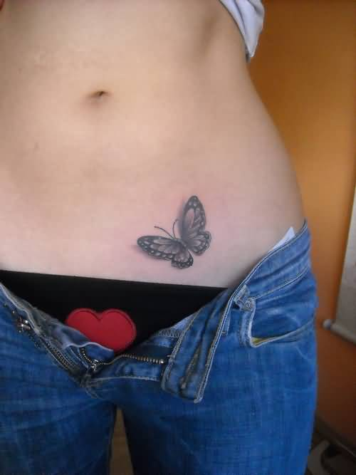 Hot Perfect Figure Girl Show Nice One Butterfly Tattoo Design Image Make On Hip