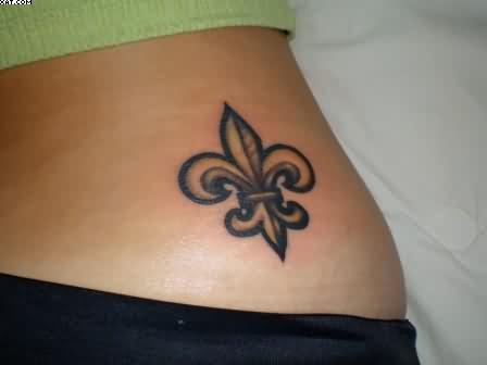 Hot Women Nice Fleur De Lis Tattoo Design For Cool Waist