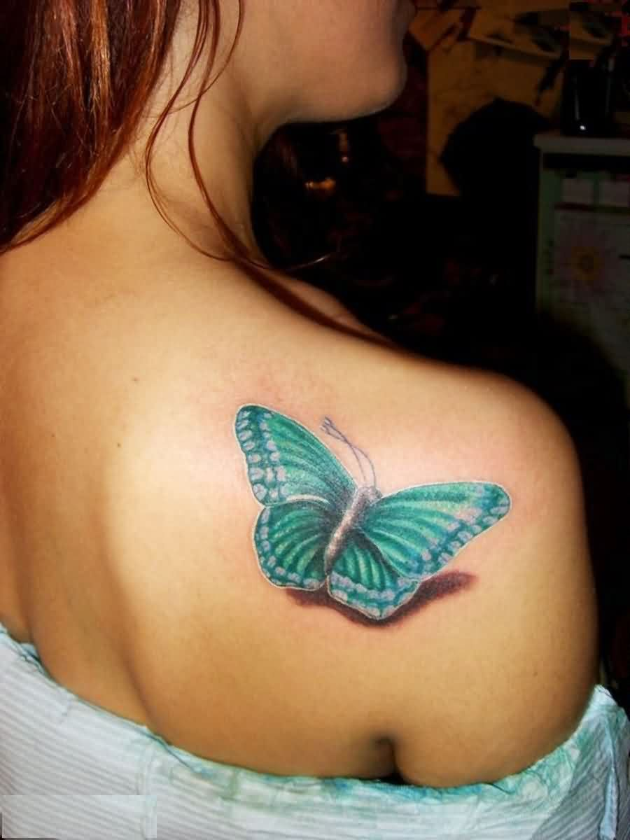 Hot Women Show Simple Butterfly Tattoo Design Image Make On Upper Side Back
